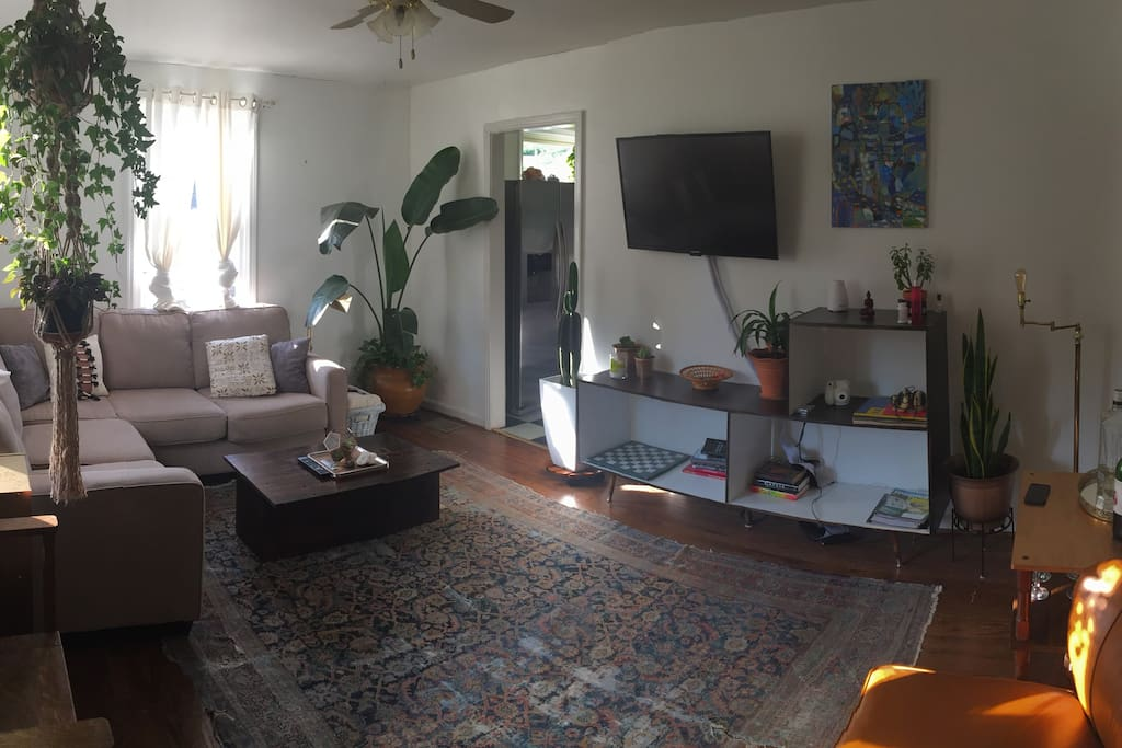 Spacious living room with Apple TV