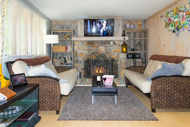 Kick back by the fire with a glass of wine and popcorn, watching your favorite TV show or a great movie on Netflix.