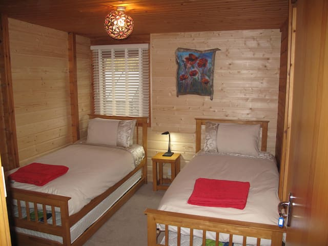 Cosy twin room in a log house