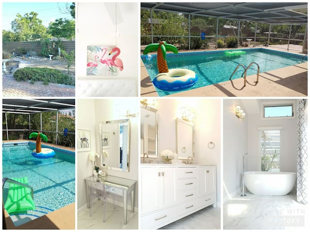 5mil to Beach!Pool!WiFi,SmartTv,Cable,3B/2BSleeps8