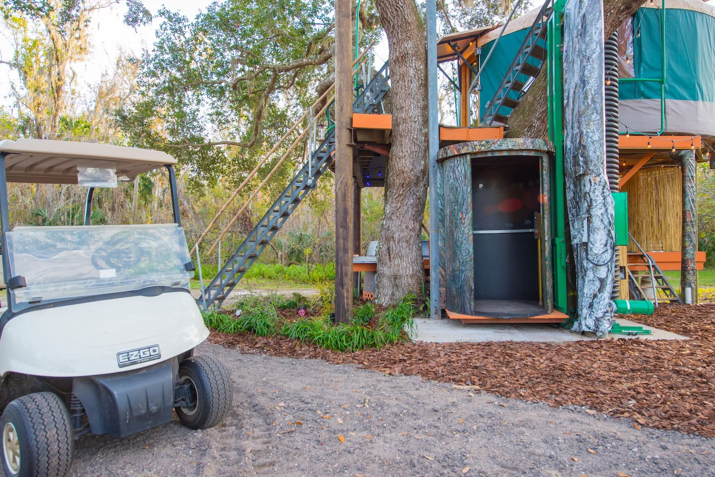 Treehouse elevator and the golf cart that you will be given for your stay
