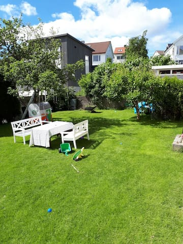 Large garden with fruit and berries, garden furniture, trampoline and lots of toys.