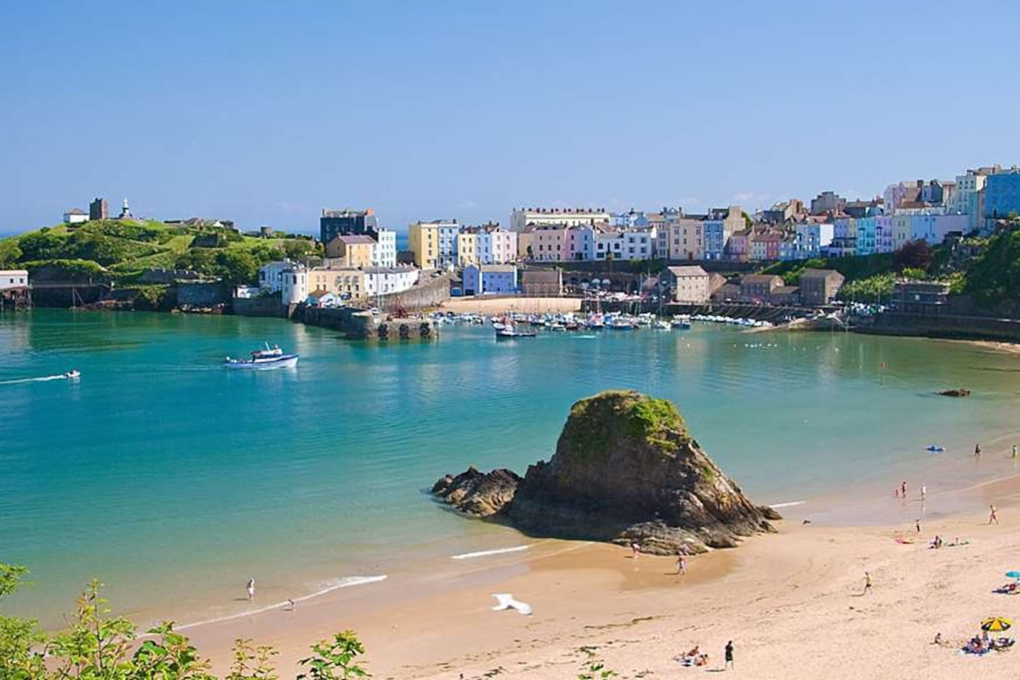 Tenby North Beach and Harbour.