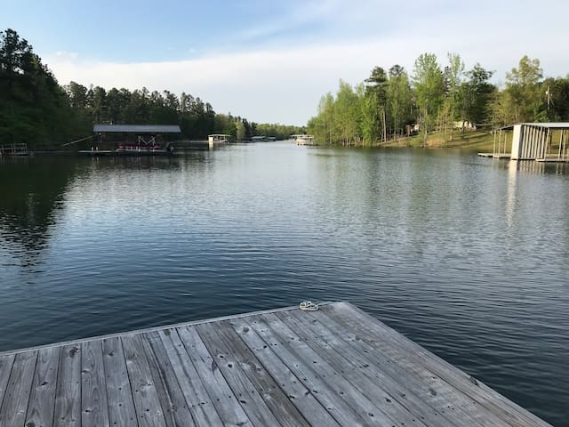 Life on the lake with boat dock and boat launch