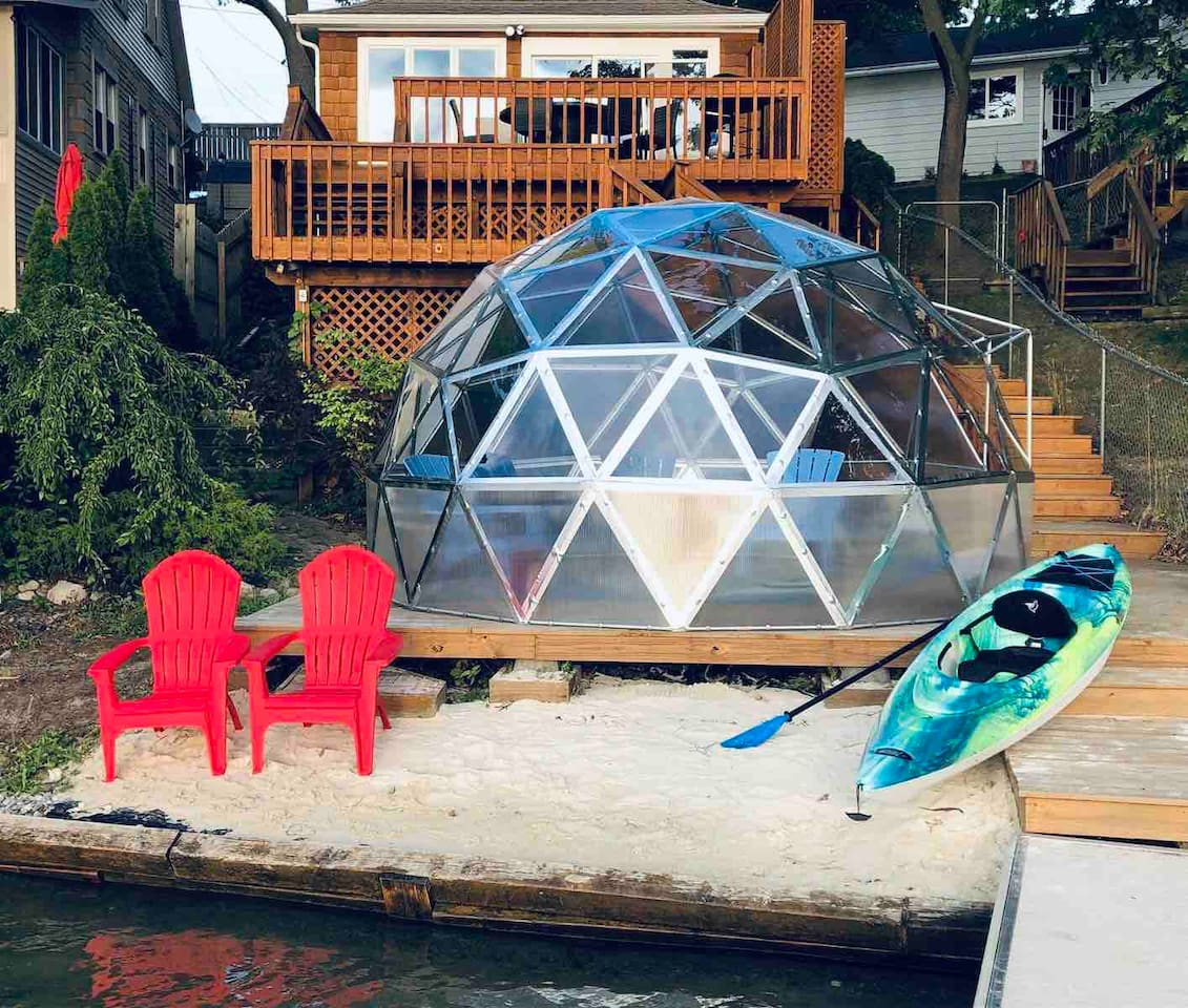 "View standaing in the dock facing the back of house and "" The Dome ""    12' in diameter and 8' tall.     Take a look at the inside pictures , super cool place to enjoy the lake !"