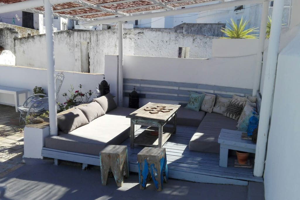 Chill out area on roof terrace