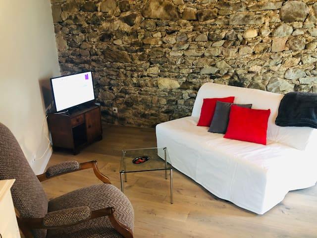 Coin salon avec canapé-lit 140x190 cm