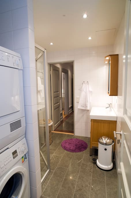 Bathroom with laundry facilities, shower and separate WC
