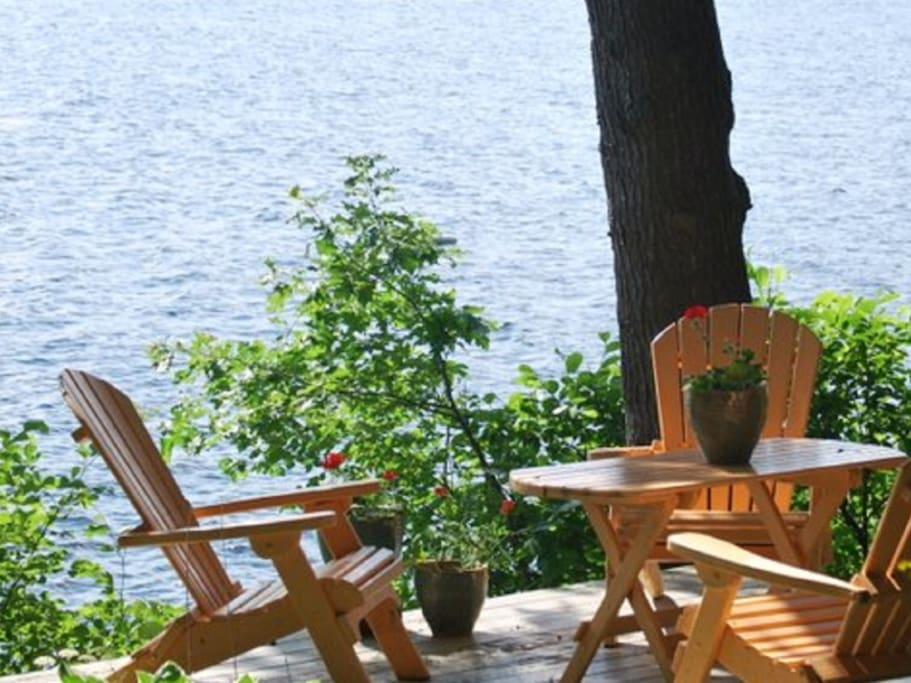 Enjoy sitting by the lake on one of two decks while listening to the loons and enjoying the sunset