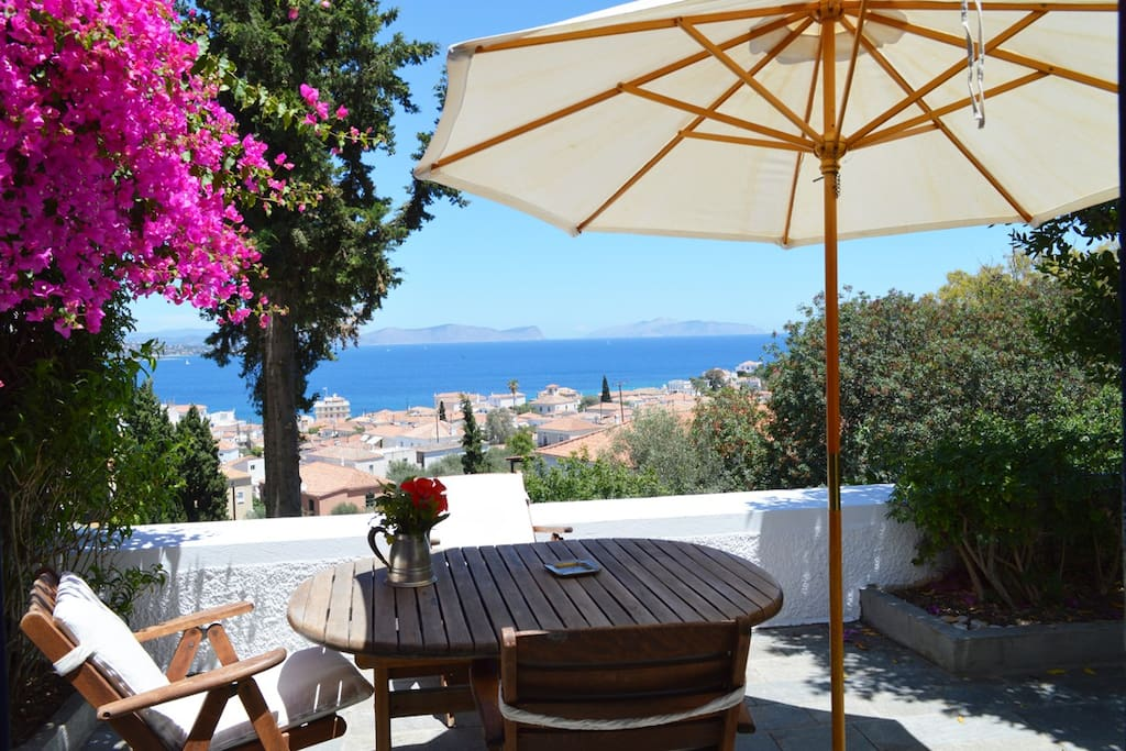 The yard with the breathtaking view of the Saronic Bay