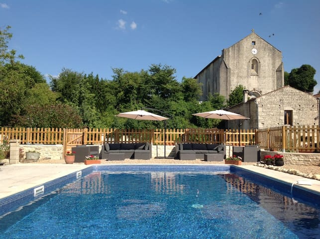 Farmhouse with pool. In village with bar and shop