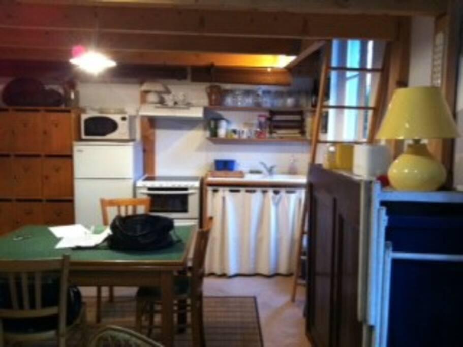 une pièce unique de 28 m2, avec une cuisine toute équipée d'un côté, un canapé BZ de l'autre, et un accès à la mezzanine, par échelle plate.