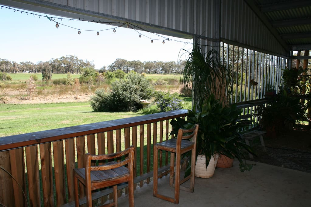 The view from the front verandah area, great spot for a BBQ and a nice wine.