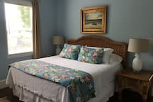 Ground level master bedroom with king bed