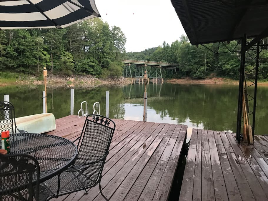 The cove is full!!!  The water levels are above the rocks you see in the picture.  Cool part about the cove  is the privacy.... We only have one neighbor and he is barely on his dock.