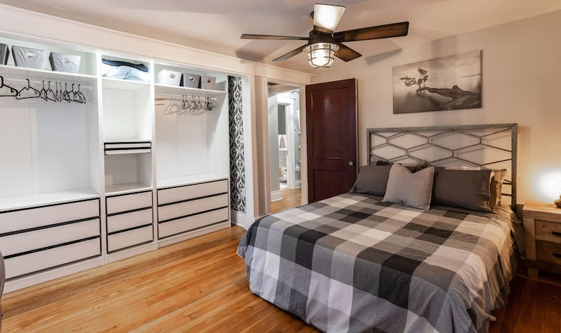 Queen Bedroom with adjacent Sunroom with Bunkbeds