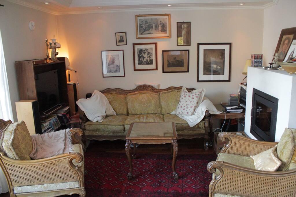 Sofa, fireplace, tv