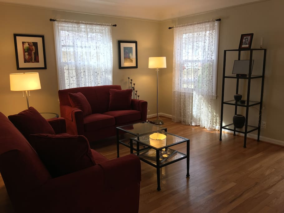 The living room is a comfortable and inviting place to be any time, day or night.