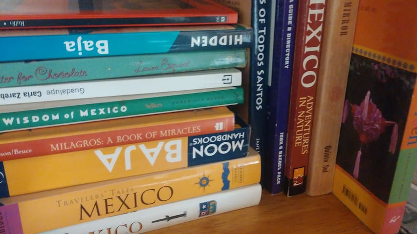 We have a small library of books, in Spanish and in English, on Baja, on wine, and just for fun.