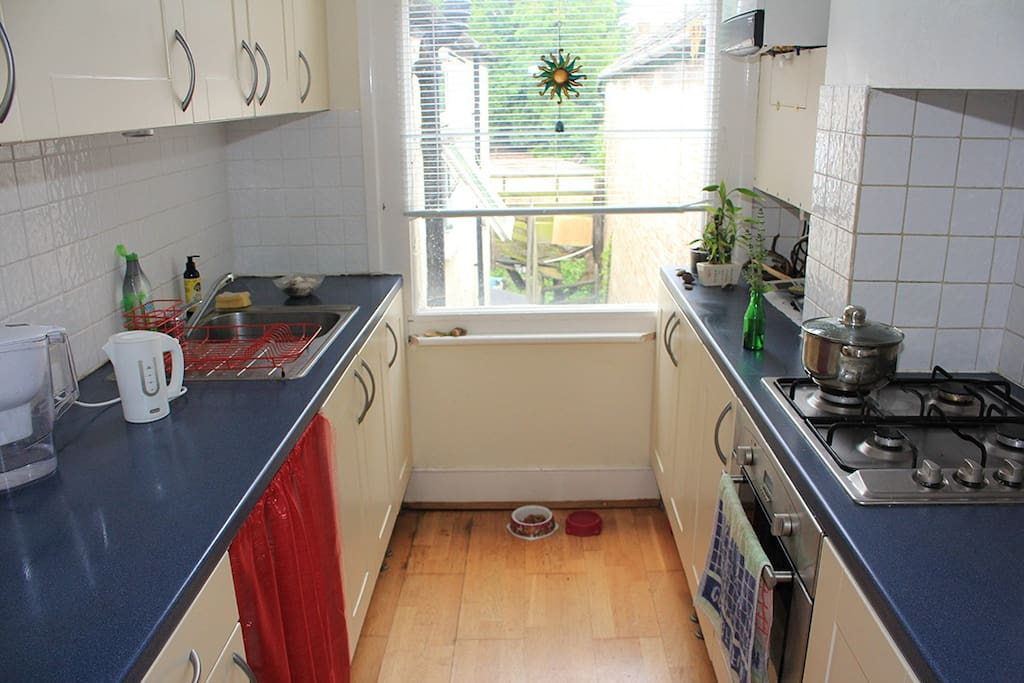 Kitchen with stove ,oven, kettle, fridge, water filter, free coffee, tea.