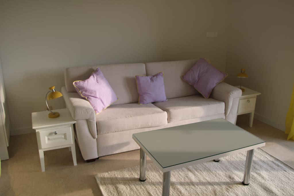 Plenty of space in the sitting room.  The sofa becomes a proper double sofabed, with sprung base and quality thick mattress.  Very comfy!