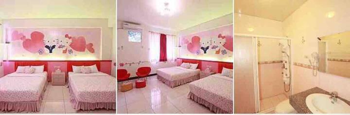 2樓Kitty風格4人套房+ 浪漫雙人套房