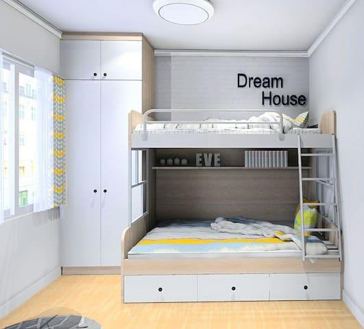 次卧上下床 下铺1.2米 可以住两个人稍微挤点 上铺1米 尚品宅配全屋定制的 家具材质好 床垫也很舒服