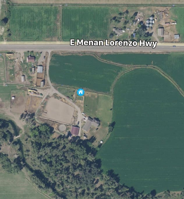 Aerial view of the property.  13 acres for RV's up to 40' long with about 25' in between each RV.  Burn pit for nights.