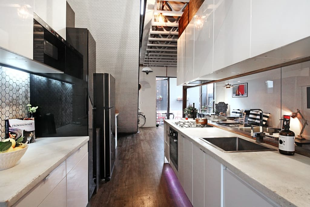 Expansive fully equipped downstairs Kitchen. Sash being a past french chef prides himself on a good sharp knife.