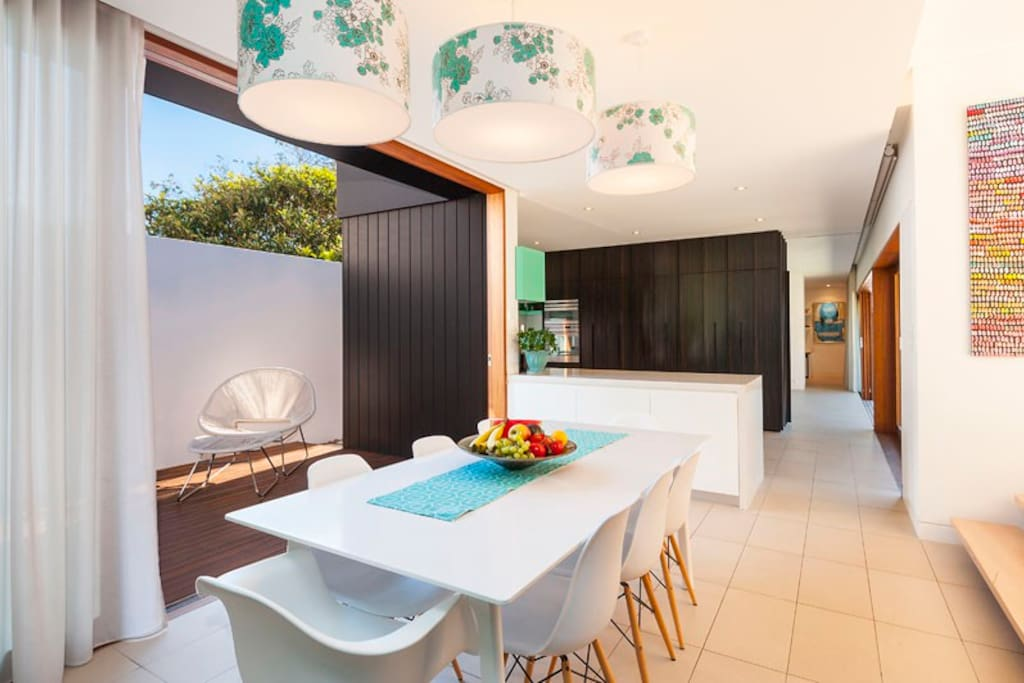 Architect designed wing contains the dining, kitchen and living