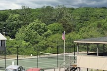 Tennis court view from back deck