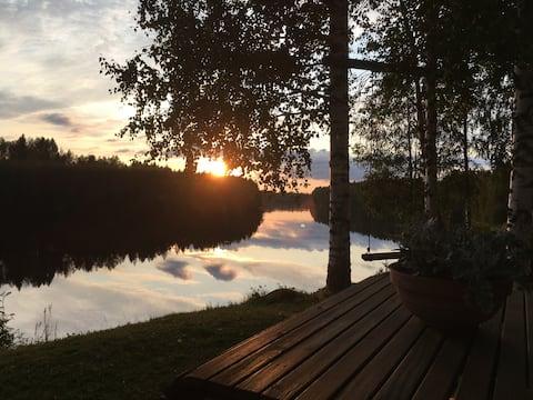 Idyllic summer spot on the banks of the river Iijoki