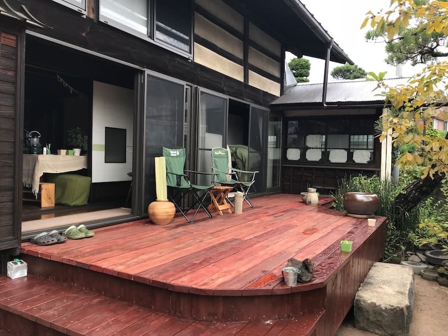 Our new wood deck. Perfect space for your morning yoga or coffee!