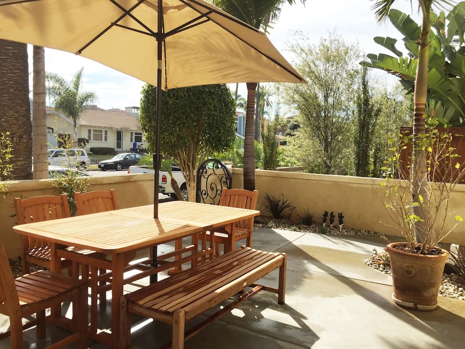 Enjoy people watching from the patio or dine out side with our beautiful California weather all year round