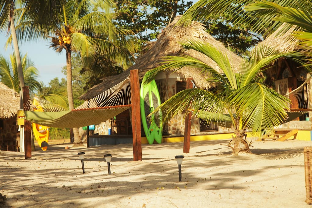 Cabanas are constructed from indigenous materials built by local craftsmen