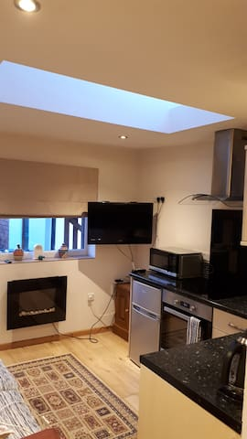 Electric fire, Virgin TV with Netflix, Microwave, Cooker, Fridge. Two large comfy seater sofa.
