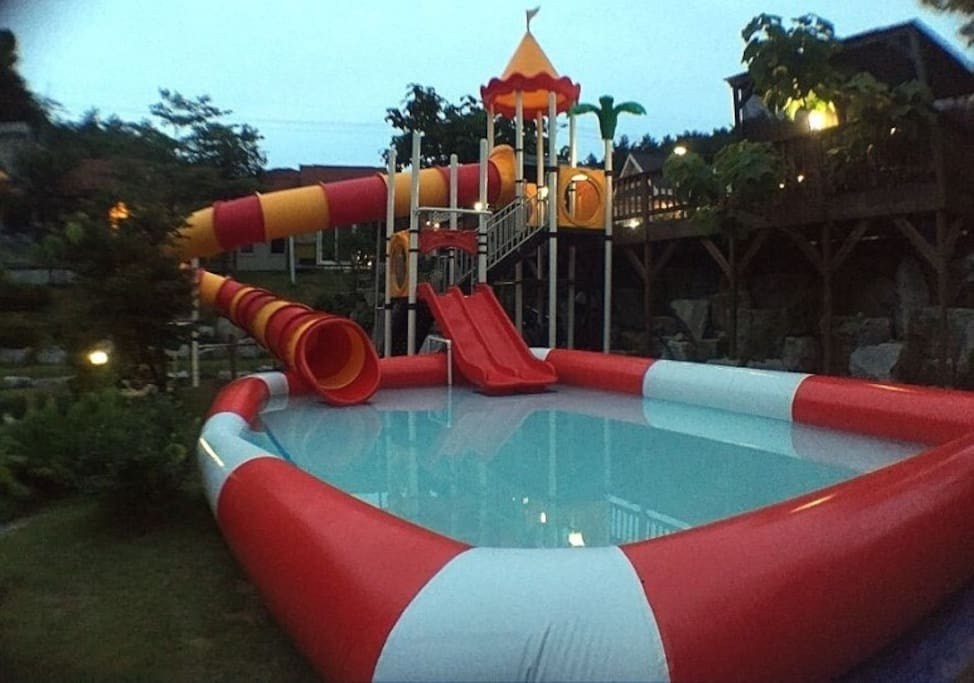 waterslide and kids pool available during June~Sept