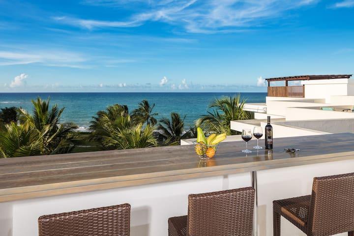Beautiful seaside condo with terrace & view