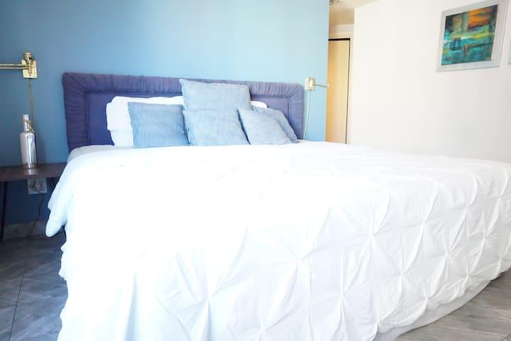 Master bedroom with TV and walking closet / Recámara principal con TV y closet