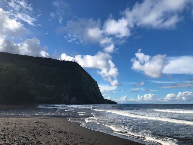 Just 10 mins to Waipio Valley, with black sand beaches and water falls!