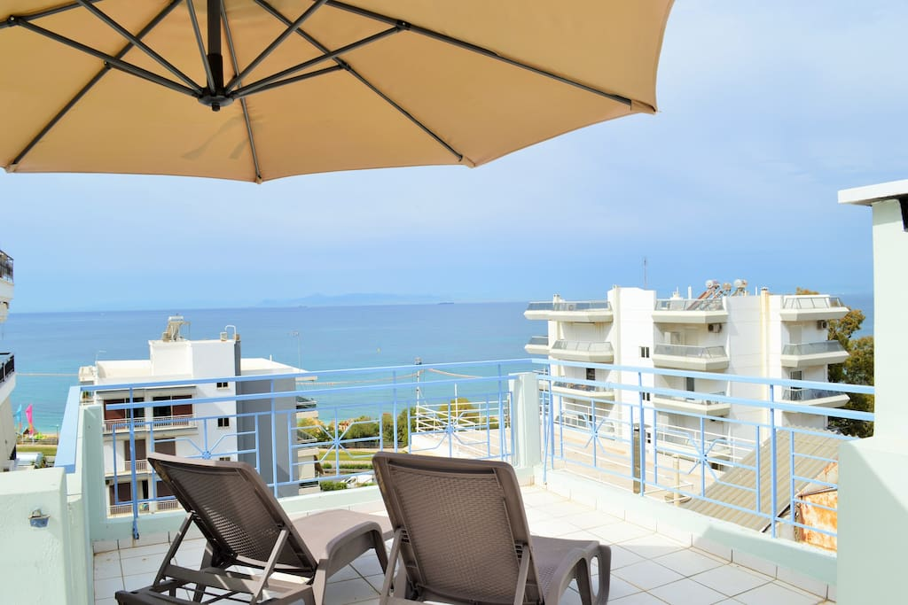 Terrace Breathtaking View of Alimos Riviera Sun Beach - Sunbeds and Umbrella