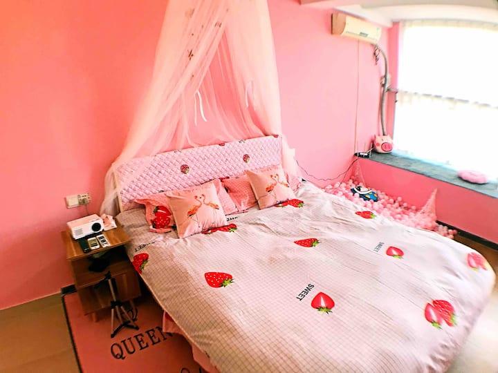 【归宿Princess】粉色公主大床房,北欧少女系列风格精装房。邻近学院,水亭门,大草原,吾悦广场