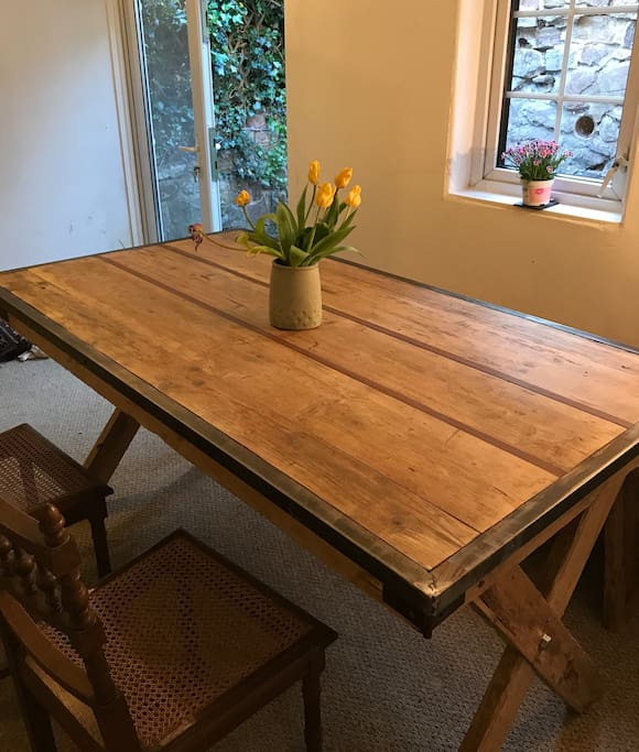 Hand crafted, bespoke new dining room table and bench seats 6-8
