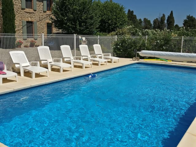 Beautiful Stone Apartment with Heated Pool