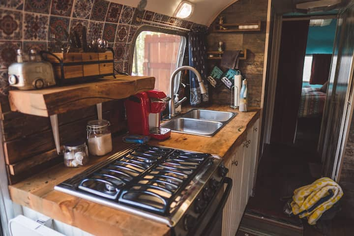 Meet Clementine, our restored Airstream w/hot tub