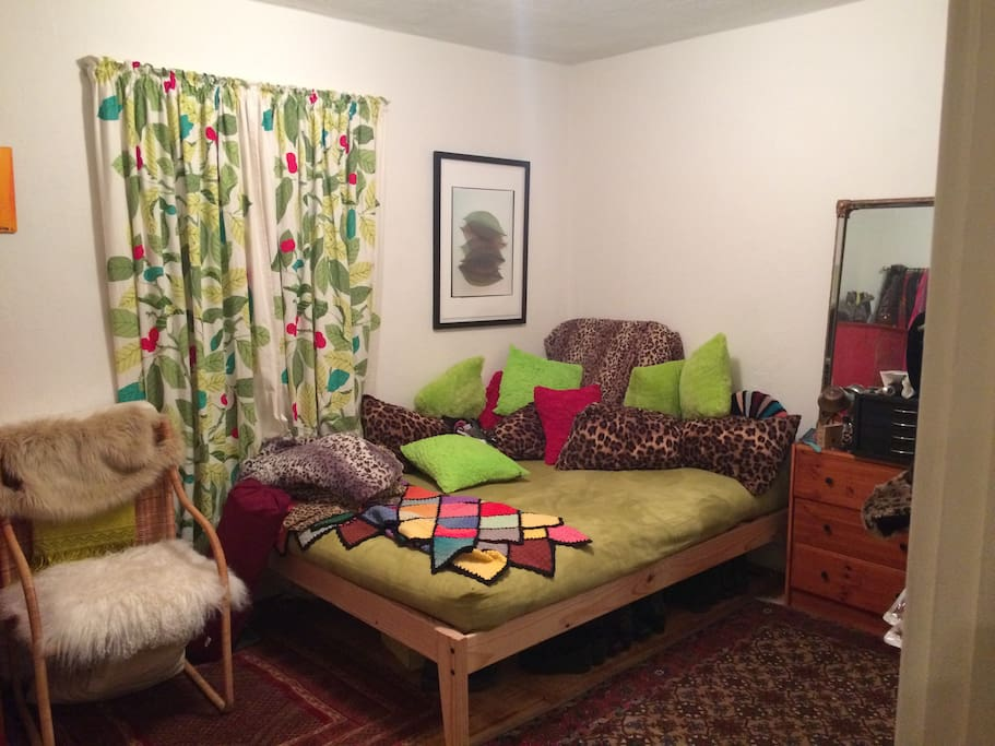 Room includes a closet and a dresser. It is directly across from the private bath.