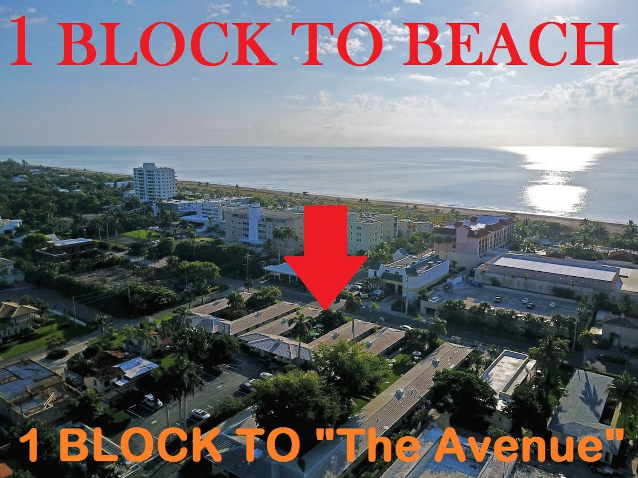 1 block from the beach and 1 block from shopping and countless restaurants