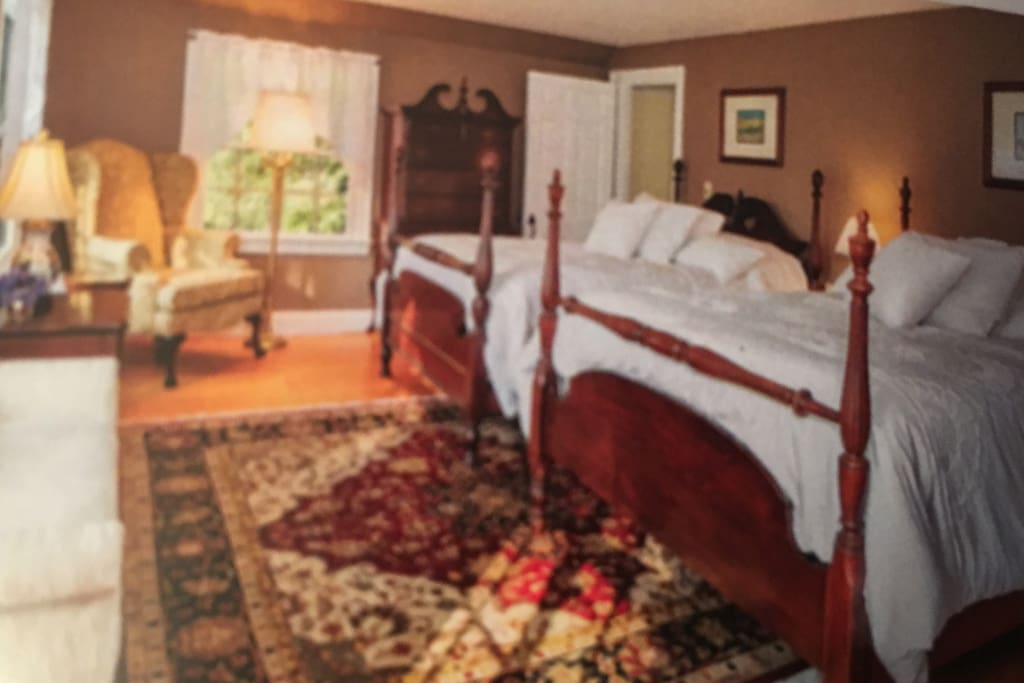 Large bright room with two full size beds, door connects  to room with queen bed. Both rooms share bath across the hallway. Great for families.