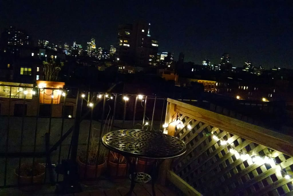 Roof deck at night