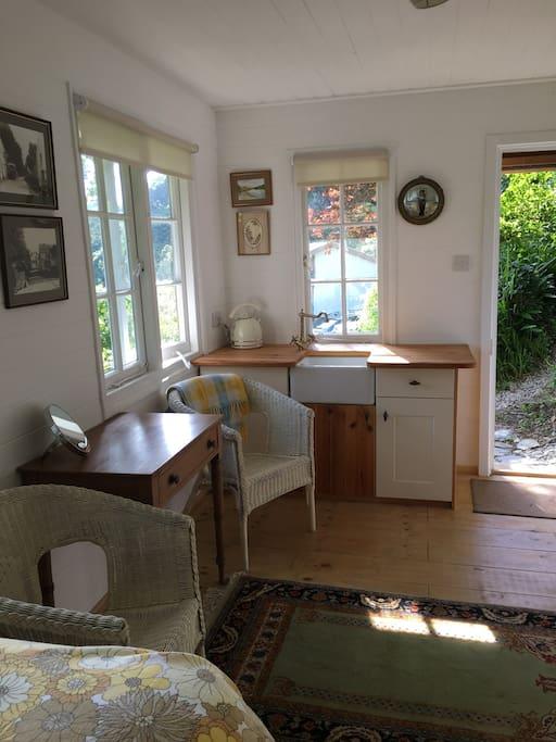 Inside Mole Cabin. Sink and kettle.